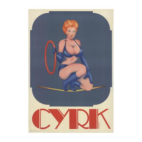 Zdzislaw Milach // Cyrk- Bikini Aerialist // 1975 Lithograph