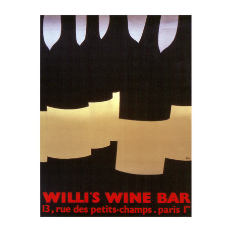 Willi's Wine Bar // Alberto Bali // 1982 Lithograph