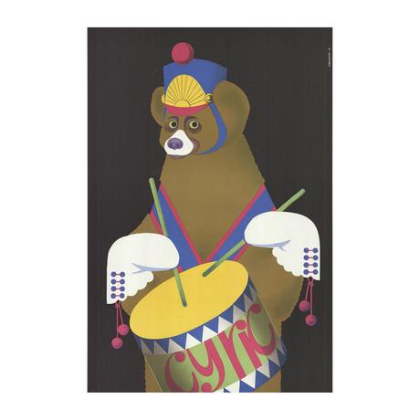 Gustaw Majewski // Cyrk- Drumming Bear // 1975 Lithograph
