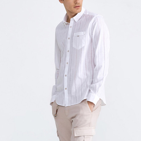 Liam Linen Button-Up // White (XS)