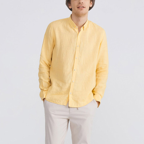 Florence Linen Button-Up // Yellow (XS)