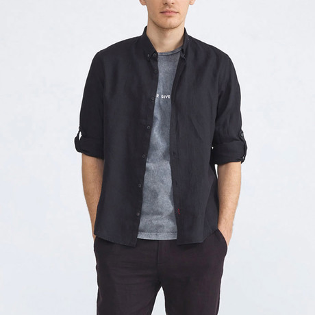 Florence Linen Button-Up // Black (XS)