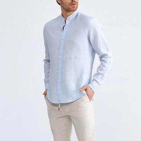 Positano Linen Button-Up // Blue (XS)