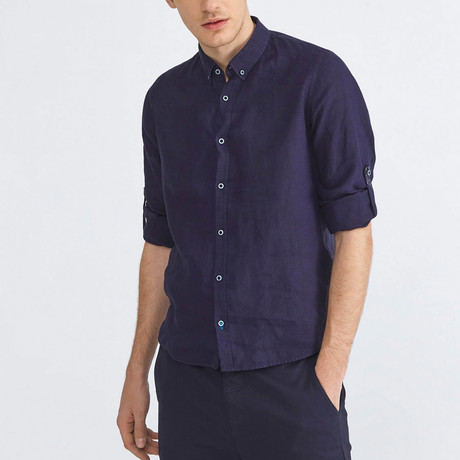Florence Linen Button-Up // Navy (XS)