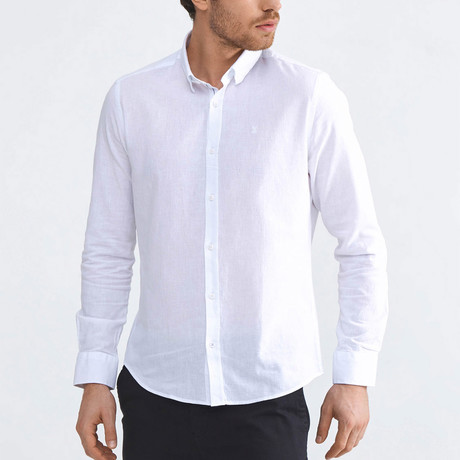 Monaco Linen Button-Up // White (XS)
