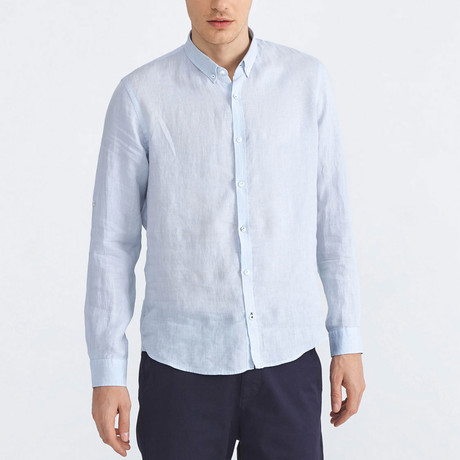 Florence Linen Button-Up // Blue (XS)