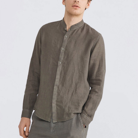 Positano Linen Button-Up // Khaki (XS)