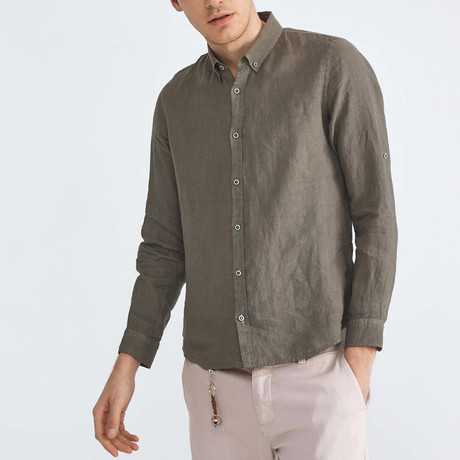 Florence Linen Button-Up // Khaki (XS)