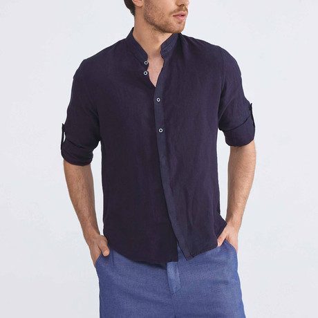 Positano Linen Button-Up // Navy (XS)