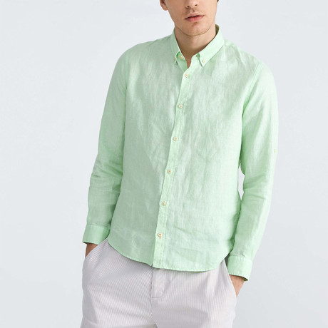 Florence Linen Button-Up // Mint (XS)