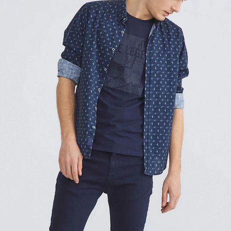Cotton Button-Up // Navy (XS)