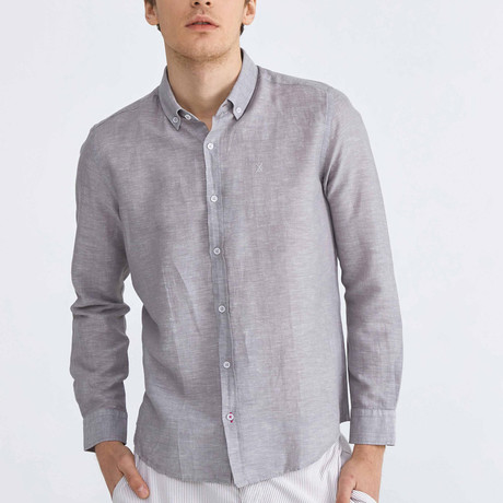 Scarlet Linen Button-Up // Gray (XS)