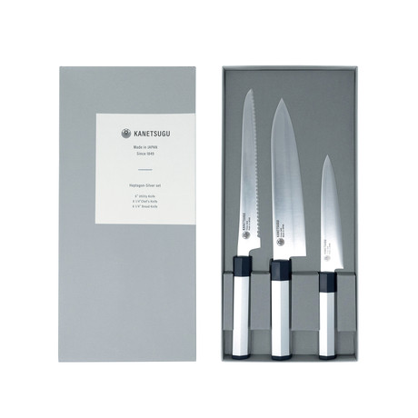 Heptagon // Silver 3 Piece Knife Set //  Utility + Chef's Knife + Bread