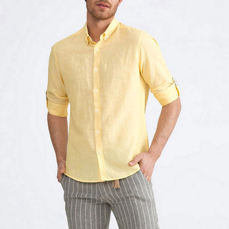 Scarlet Linen Button-Up // Lemon (XS)