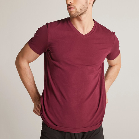 V Collar T-Shirt // Claret Red (XS)