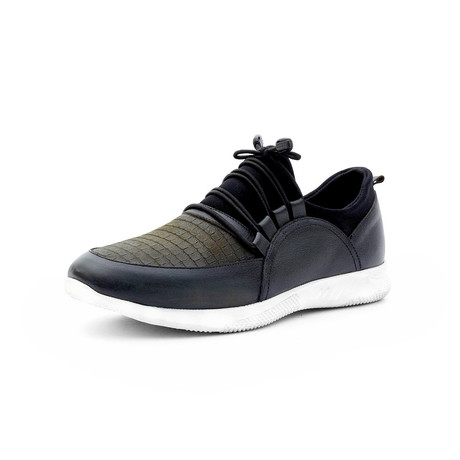 Hasan Low Top Sneakers // Black + Khaki (Euro: 40)