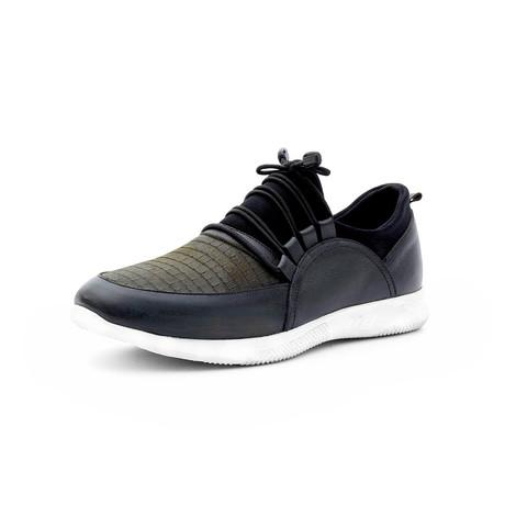 Hasan Low Top Sneakers // Black + Dark Green (Euro: 40)