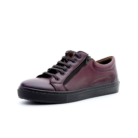 Oliver Low Top Sneakers + Zipper // Burgundy (Euro: 40)
