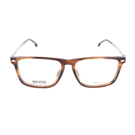 Men's 0931-KVI Optical Frames // Striped Brown + Silver