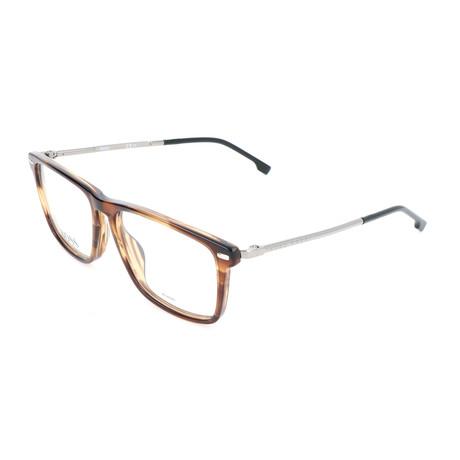 Men's 0931-KVI Optical Frames // Striped Brown + Silver