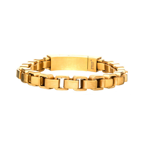 Stainless Steel + Gold Plated Bold Box Bracelet // Gold