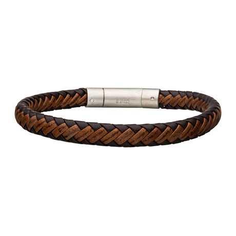 Leather Bracelet + Steel Clasp // Brown