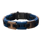 Leather +Steel Chain Bracelet // Blue + Brown + Rose Gold
