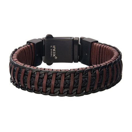 Weave Leather Chain Bracelet // Red + Brown