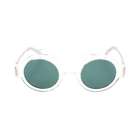 Unisex AOG001 Sunglasses // Semi-Transparent Crystal + Green