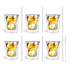 CRISTALLO // 6-Piece Whiskey Double-Wall Glass + 6 Glass Straws 20cm (Transparent)