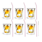 CRISTALLO // 6-Piece Whiskey Double-Wall Glass + 6 Glass Straws 23cm (Pink)