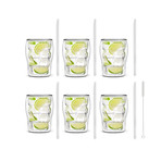 BOLLA // 6-Piece Double-Wall Glass 300mL + 6 Glass Straws 20cm (Transparent)