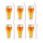 AMO // 6-Piece Double-Wall Beer Glass // 350mL + 6 Glass straw 23cm (Pink)