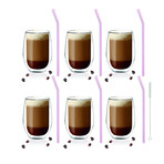 AMO // 6-Piece Double-Wall Glass 400mL + Glass Straws 23cm (Pink)