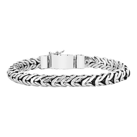 Men's Link Woven Bracelet // Silver