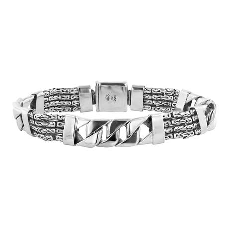 Men's Byzantine + Curb Link Bracelet // Silver