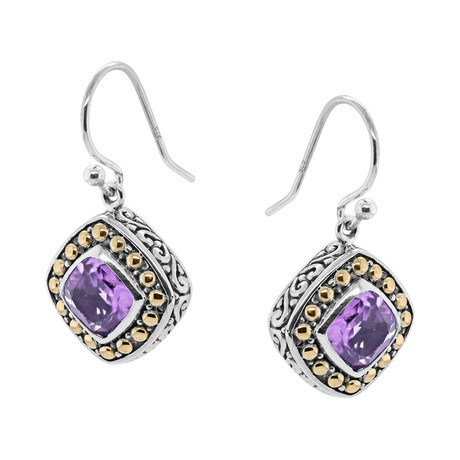 Women's Amethyst Earrings // Silver + Purple