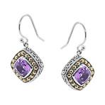 Women's Amethyst Earrings // Silver + Purple
