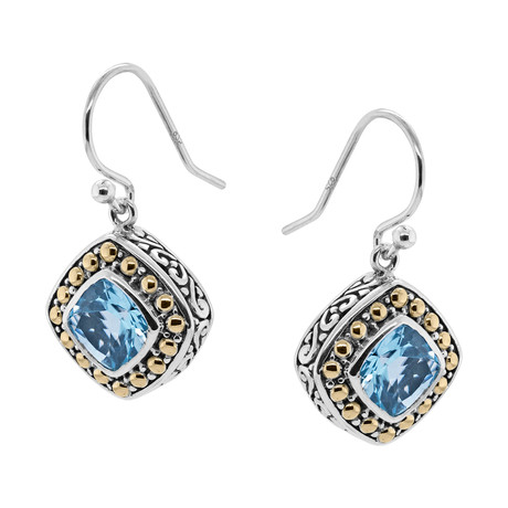 Women's Topaz Earrings // Silver + Blue
