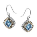 Women's Topaz Earrings // Silver + Blue