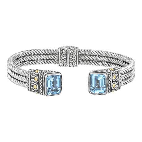 Women's Topaz Cable Bracelet // Silver + Blue