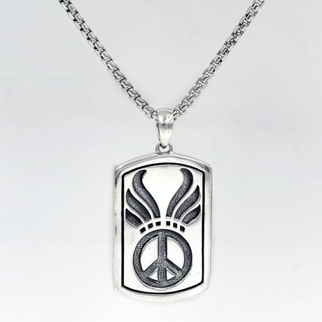 Men's Peace Sign Dog Tag Necklace // Silver