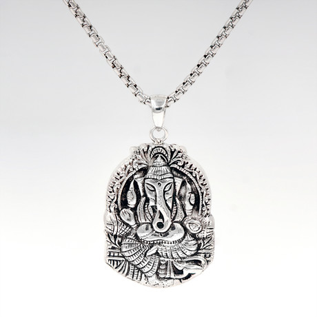 Men's Ganesha Necklace // Silver