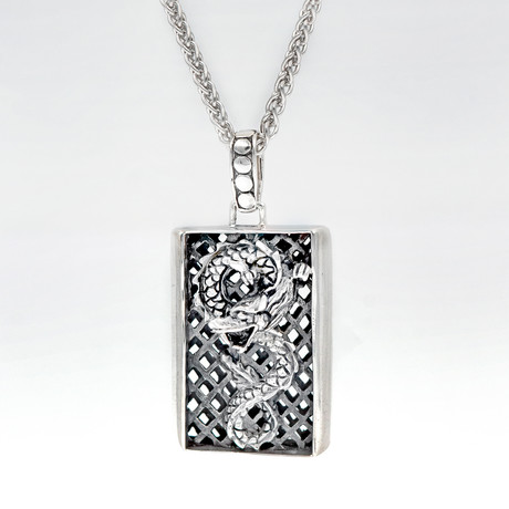 Men's Dragon Dog Tag Necklace // Silver
