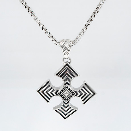 Men's Maltese Cross Necklace // Silver