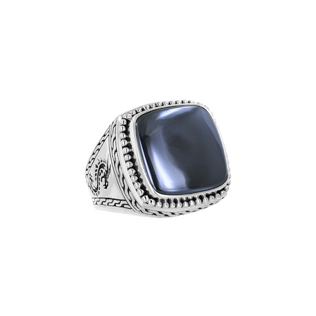 Men's Hematite Ring // Silver + Gray (9)