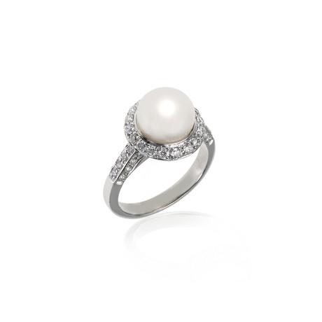 Crivelli 18k White Gold Diamond + Pearl Ring // Ring Size: 6.25