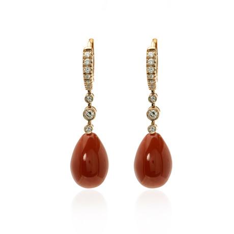 Crivelli 18k White Gold Diamond + Red Corniola Earrings
