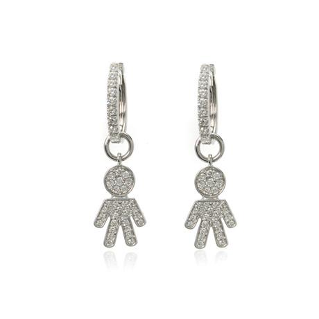 Crivelli 18k White Gold Diamond Earrings V