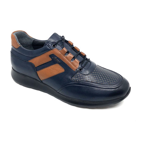 Willian Sneakers // Navy Blue + Brown (Euro: 39)